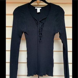 H&M black weather with chest ties , size Small